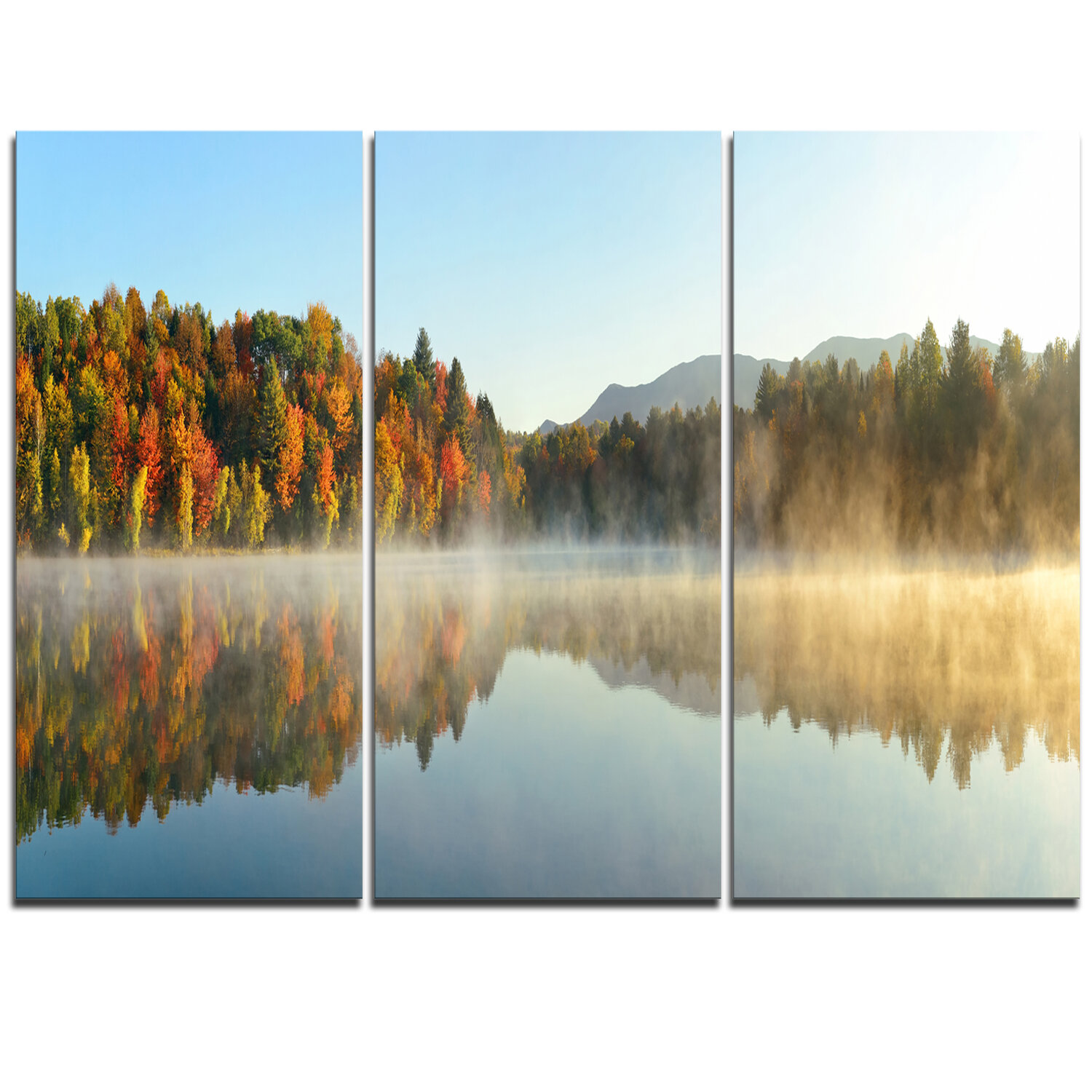 Designart Lake Autumn Foliage Fog Panorama 3 Piece Graphic Art On Wrapped Canvas Set Wayfair