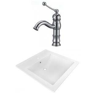 Best Reviews 1 Hole Ceramic Rectangular Drop-In Bathroom Sink with Faucet and Overflow By American Imaginations