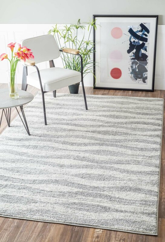 Lada Abstract Waves Gray/White Area Rug - Mercury Row Lada Abstract Waves Gray/White Area Rug & Reviews