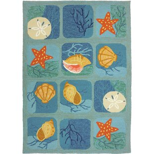 Coeymans Shell Tile Aqua Indoor/Outdoor Area Rug