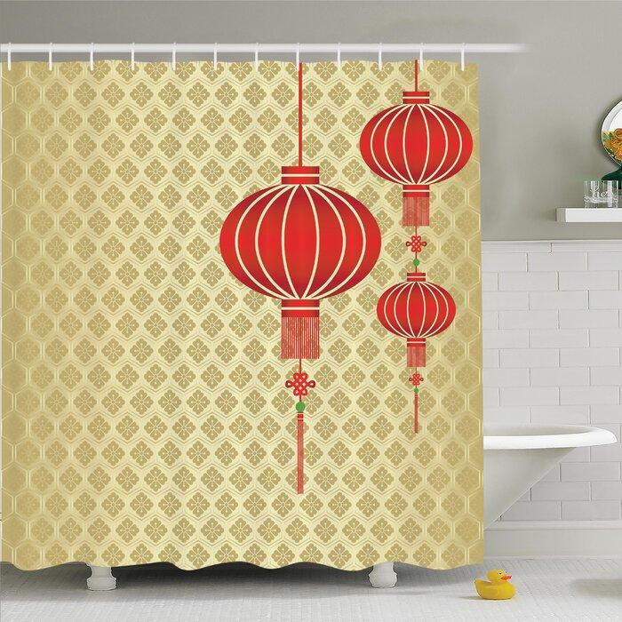 Chinese Lantern Baroque Artsy Shower Curtain Set