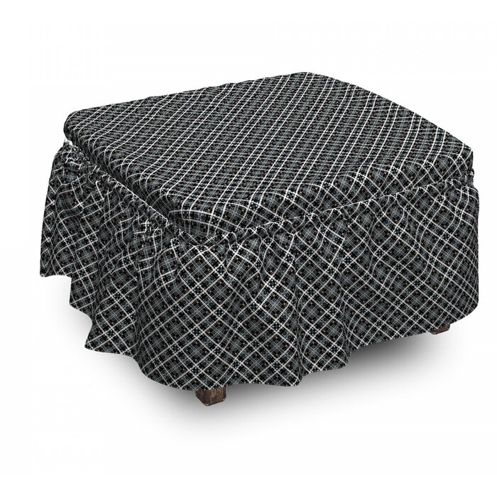 Surprising Checkered Traditional Plaid 2 Piece Box Cushion Ottoman Slipcover Set Bralicious Painted Fabric Chair Ideas Braliciousco