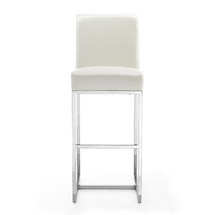 Neema Leatherette 29.5 Bar Stool Orren Ellis