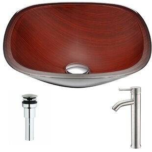 Inexpensive Cansa Glass Square Vessel Bathroom Sink with Faucet By ANZZI