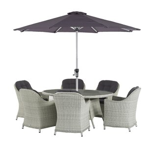 Ridgewood 6 Seater Dining Set With Cushions And Parasol By Sol 72 Outdoor