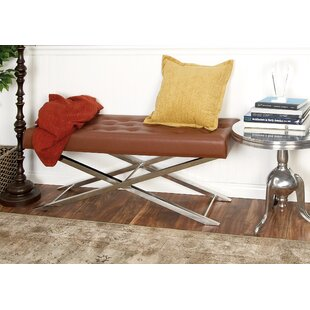 Cole & Grey Metal and Leather Bench