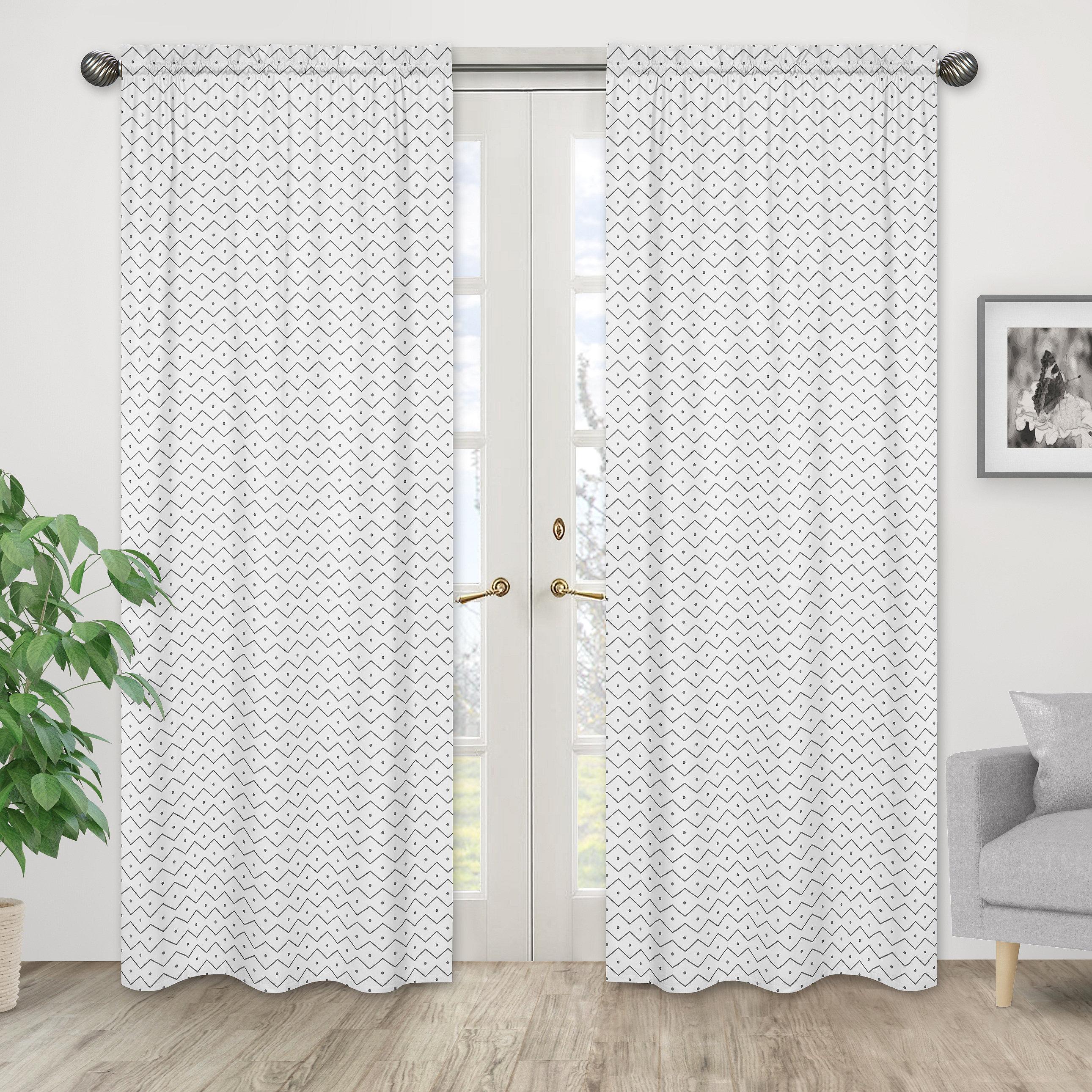 Sweet Jojo Designs Mod Dinosaur Chevron Semi Sheer Rod Pocket Curtain Panels Reviews Wayfair