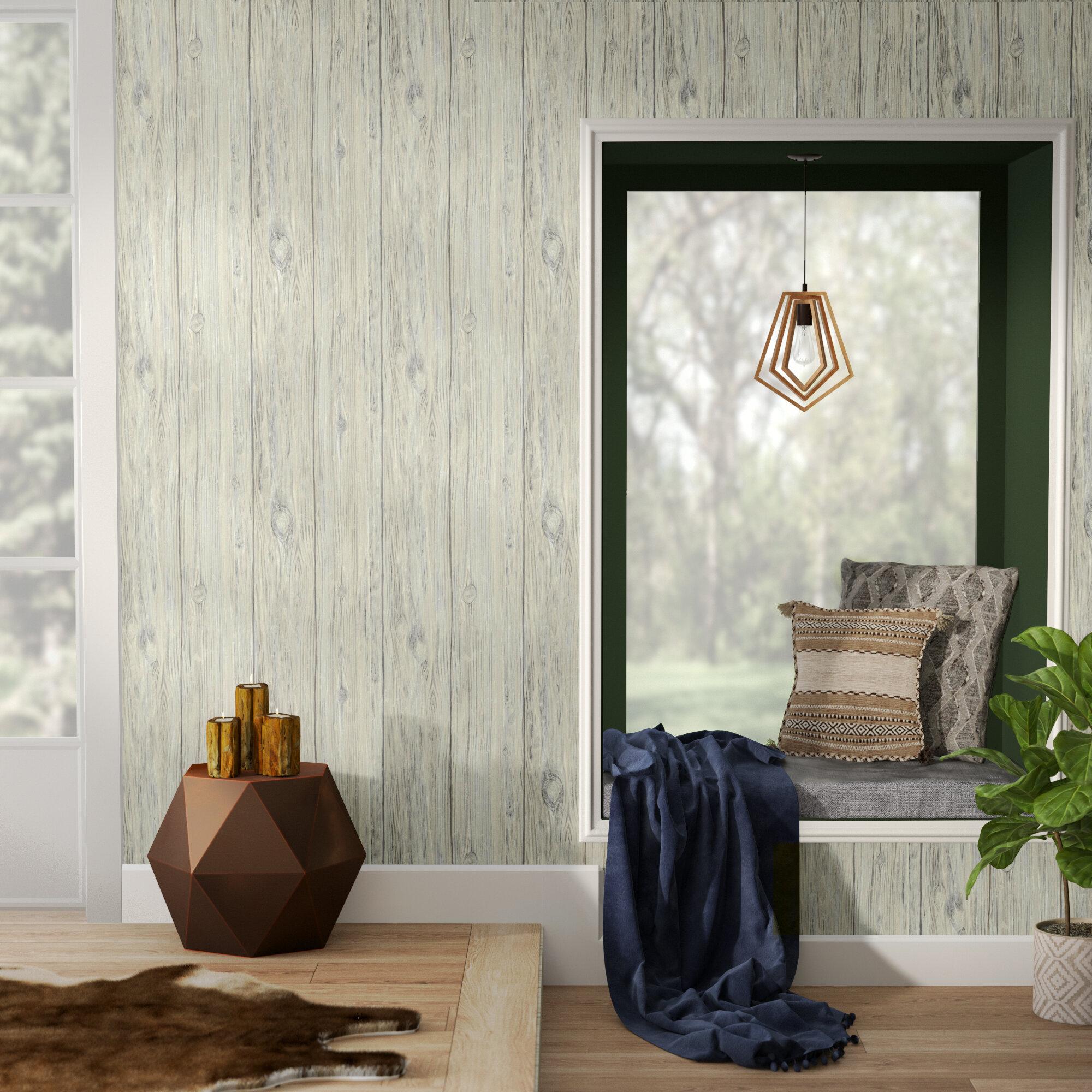 """Union Rustic Nyema Mushroom Wood 16.5' L x 20.5"""" W Brick Peel and Stick Wallpaper Roll & Reviews   Wayfair"""