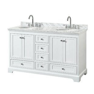 Deborah 60 Double White Bathroom Vanity Set By Wyndham Collection