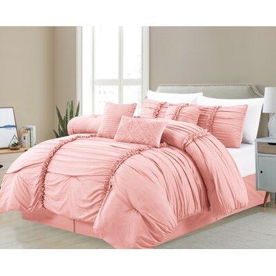 Gracie Oakscasa Platino Decorative Ruffel 7 Pc Comforter Set Gracie Oaks Size Queen Comforter 6 Additional Pieces Color Blush Dailymail