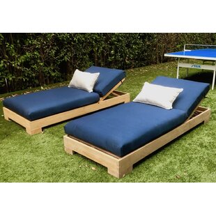 Camargo Teak Outdoor Reclining Chaise Lounge with Cushion (Set of 2)