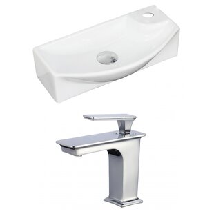 Ceramic 18 Wall Mount Bathroom Sink with Faucet and Overflow American Imaginations