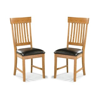 Whipple Slatback Genuine Leather Upholstered Dining Chair (Set of 2) by Millwood Pines SKU:BA494947 Buy