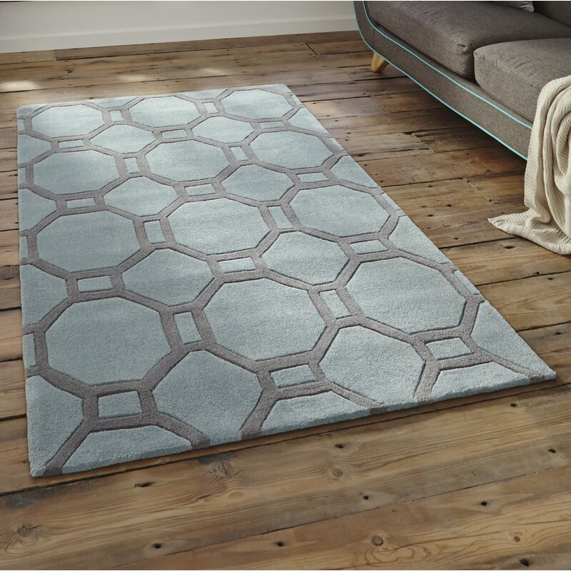 Mercury Row Duhon Hand Tufted Duck Egg Blue Area Rug
