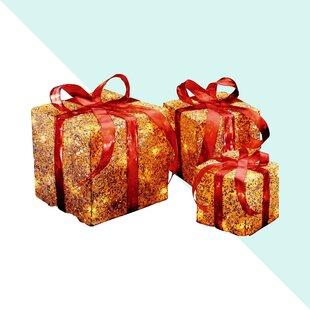3 Piece Lighted Gift Box Wayfair