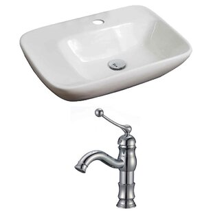 Compare & Buy Above Counter Ceramic Rectangular Vessel Bathroom Sink with Faucet ByRoyal Purple Bath Kitchen