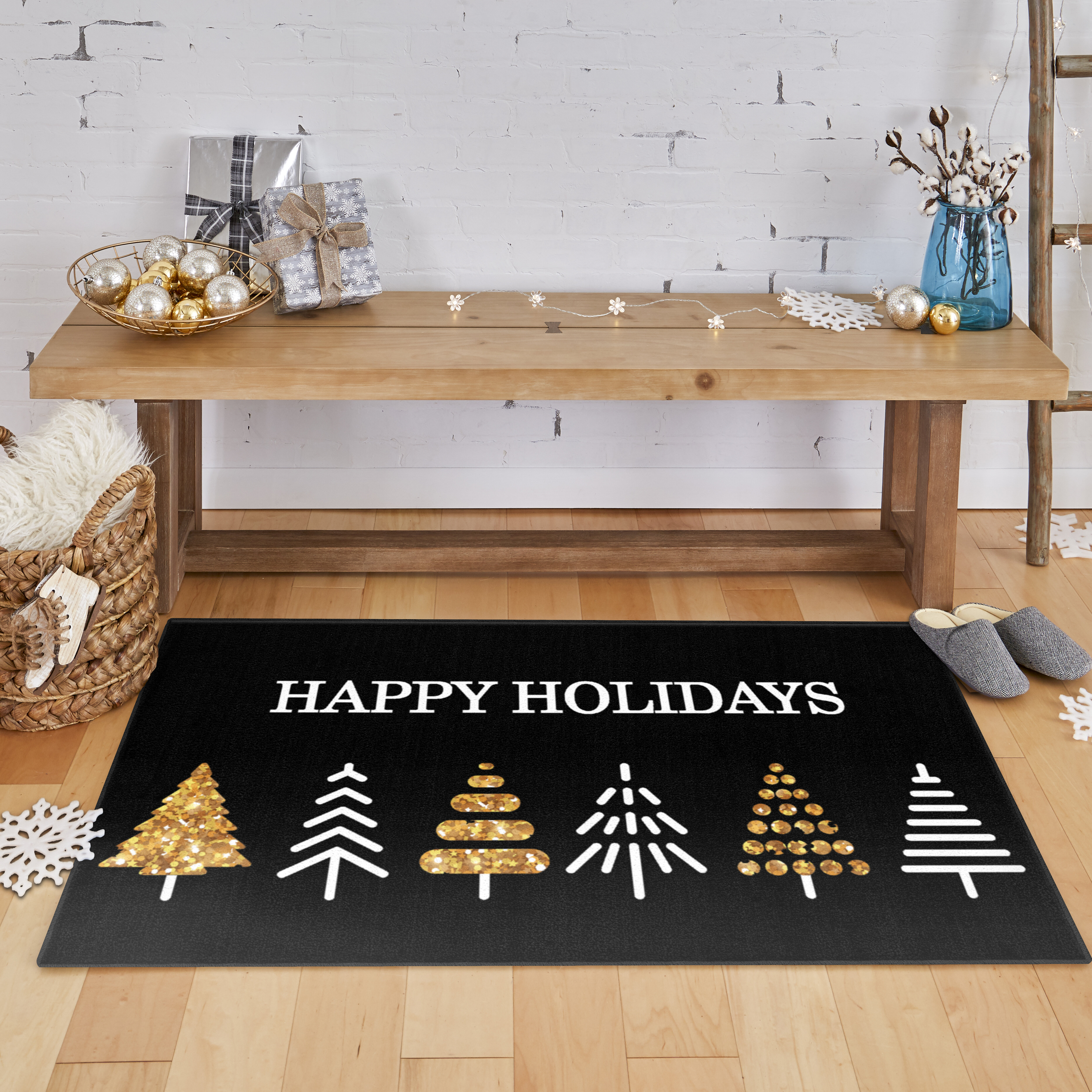 The Holiday Aisle Triplett Holiday Trees Black Area Rug Wayfair