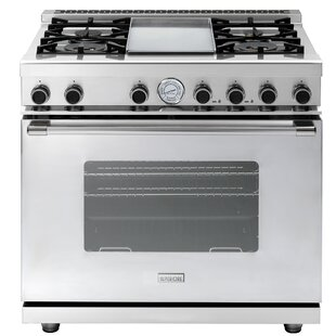 Superiore 36-In. Next Freestanding Gas Range with 4 Brass Burners, Griddle and Classic Door in Stainless Steel, RN362GCS-S by Superiore