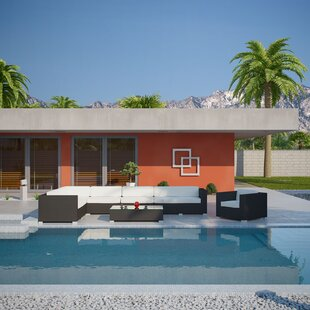 Palm Springs 7 Piece Rattan Sectional Set with Cushions