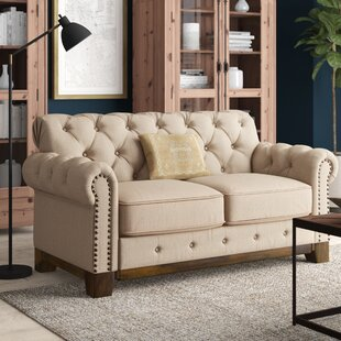 Shop New Britain Tufted Scroll Loveseat by Three Posts