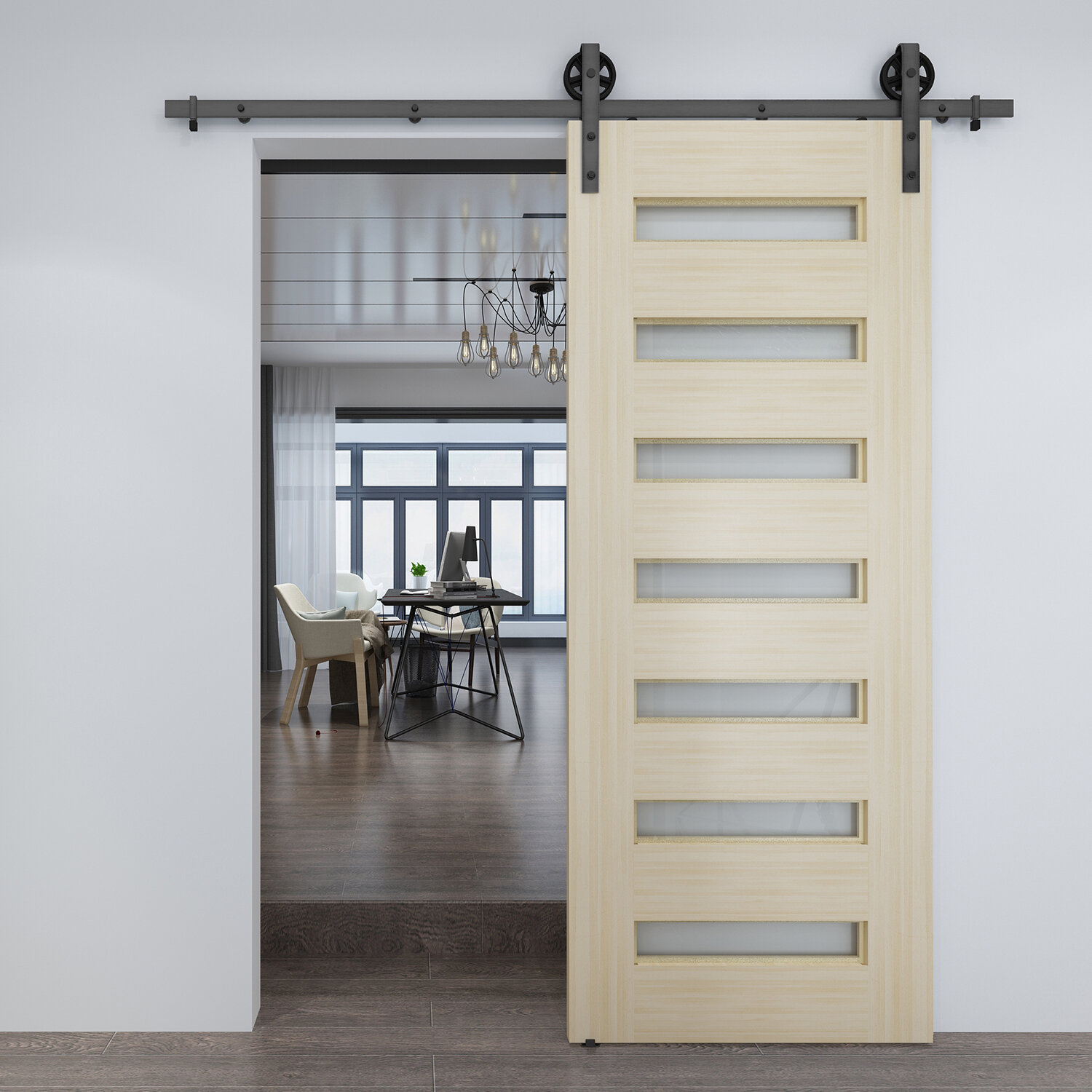 Colonial Elegance Frosted Glass Barn Door Without Installation Hardware Kit Reviews