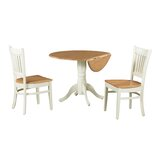 Agnese 3 Piece Drop Leaf Solid Wood Dining Set by August Grove®