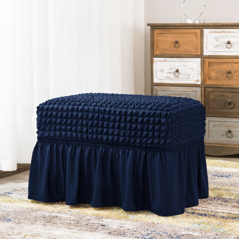 Stretch Fabric Ruffle Ottoman Slipcover