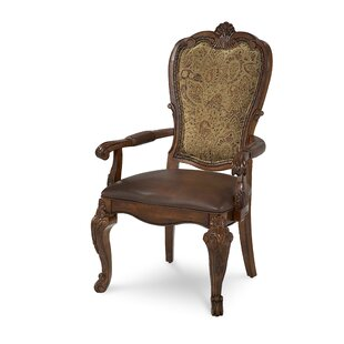 Brussels Genuine Leather Upholstered Dining Arm Chair (Set of 2)