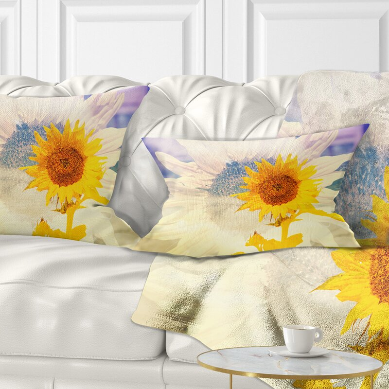 East Urban Home Floral Double Exposure Sunflowers Lumbar Pillow Wayfair