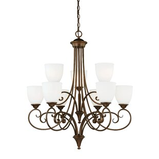 Fleur De Lis Living Bruder 9-Light Shaded Chandelier