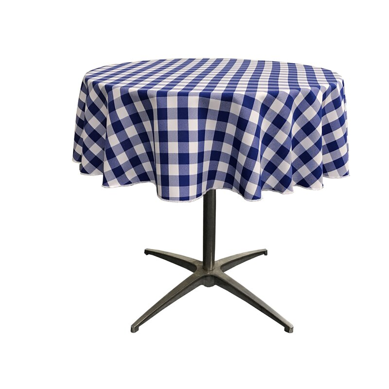 Incroyable Andrade Polyester Gingham Checkered Round Tablecloth