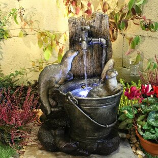 Playing Otters Animal Resin Water Feature With Light By Sol 72 Outdoor