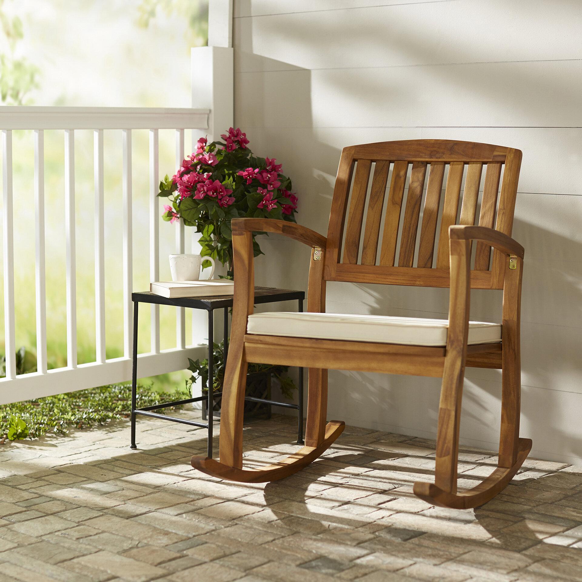 highland dunes kairi acacia rocking chair with cushion reviews