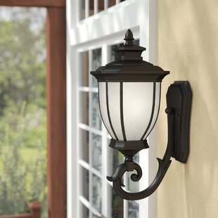 Online Reviews Greenview Glass 1-Light Outdoor Wall Lantern By Three Posts