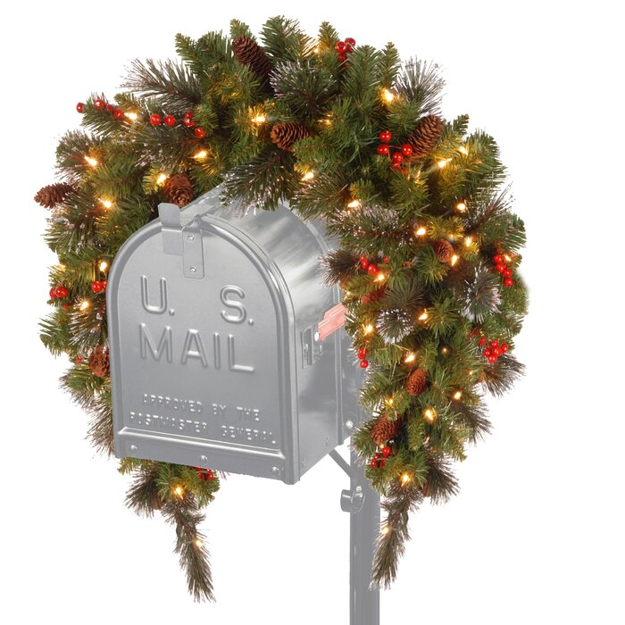 Pre Lit Outdoor Christmas Trees Battery Operated.Spruce Pre Lit Mailbox Cover With 50 Battery Operated White Led Lights