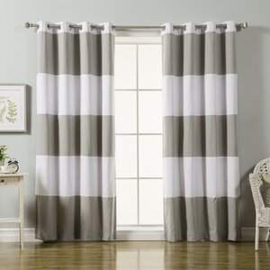 Sammy Striped Blackout Thermal Grommet Curtain Panels (Set of 2)
