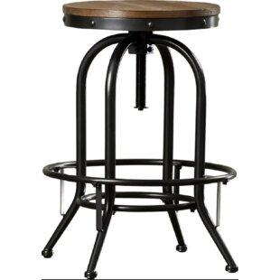Caceres Adjustable Height Swivel Bar Stool Williston Forge