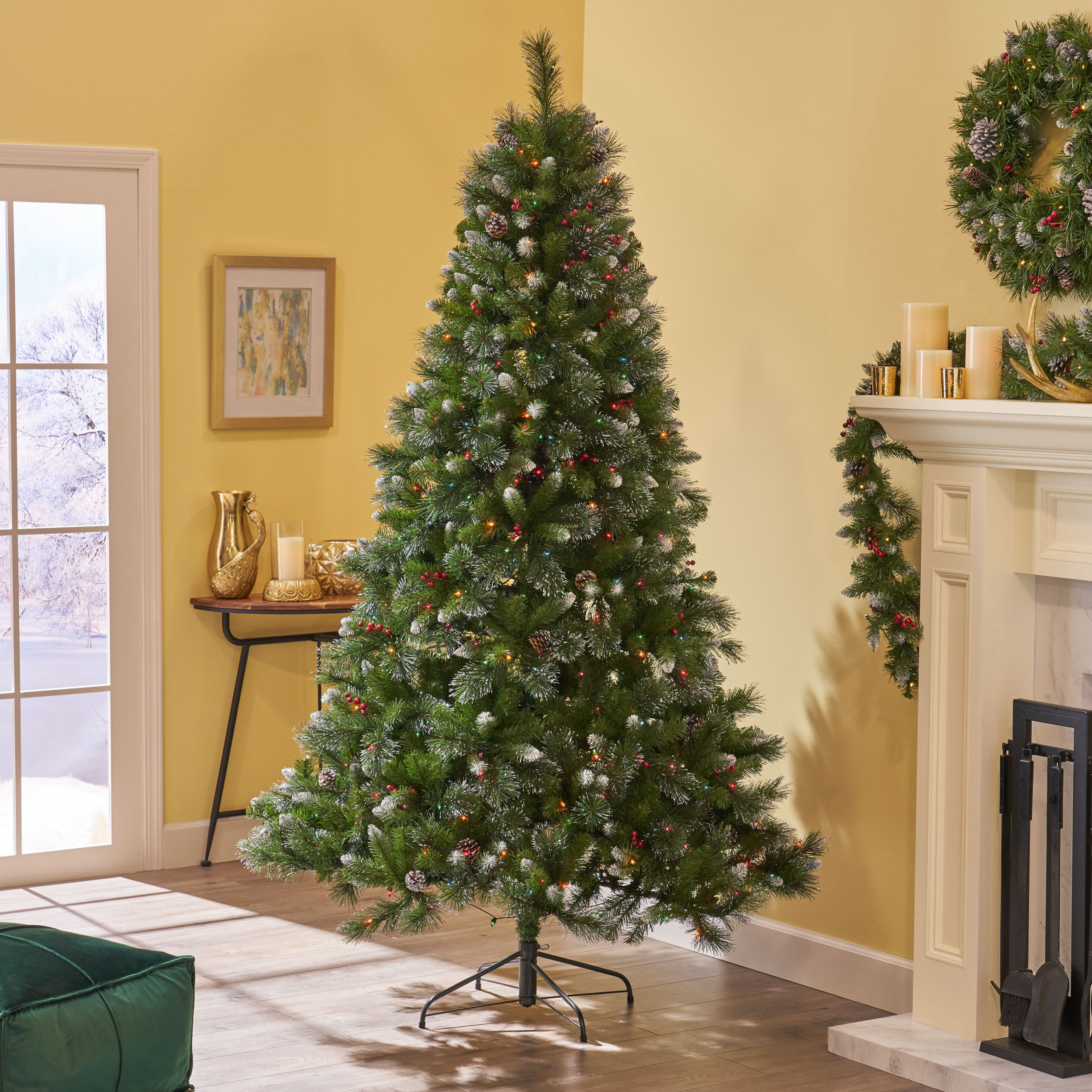 7\u0027 Green Spruce Artificial Christmas Tree with 450 Multi,Colored Lights