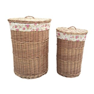 Round Garden Rose Lining Wicker 2 Piece Laundry Set By August Grove