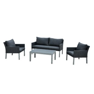 Geralyn Outdoor Balcony 4 Piece Sofa Seating Group with Cushions