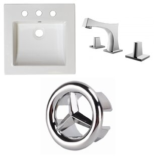 Look for Ceramic Rectangular Drop-In Bathroom Sink with Faucet and Overflow ByAmerican Imaginations
