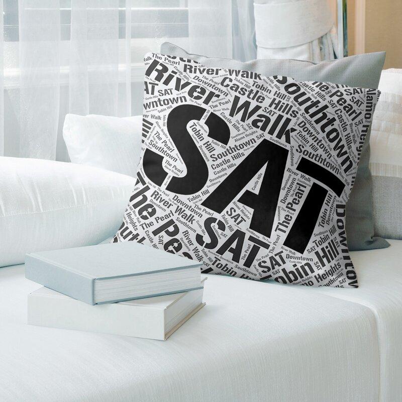 Artverse Texas Districts Word Art Leather Throw Pillow Cover Wayfair