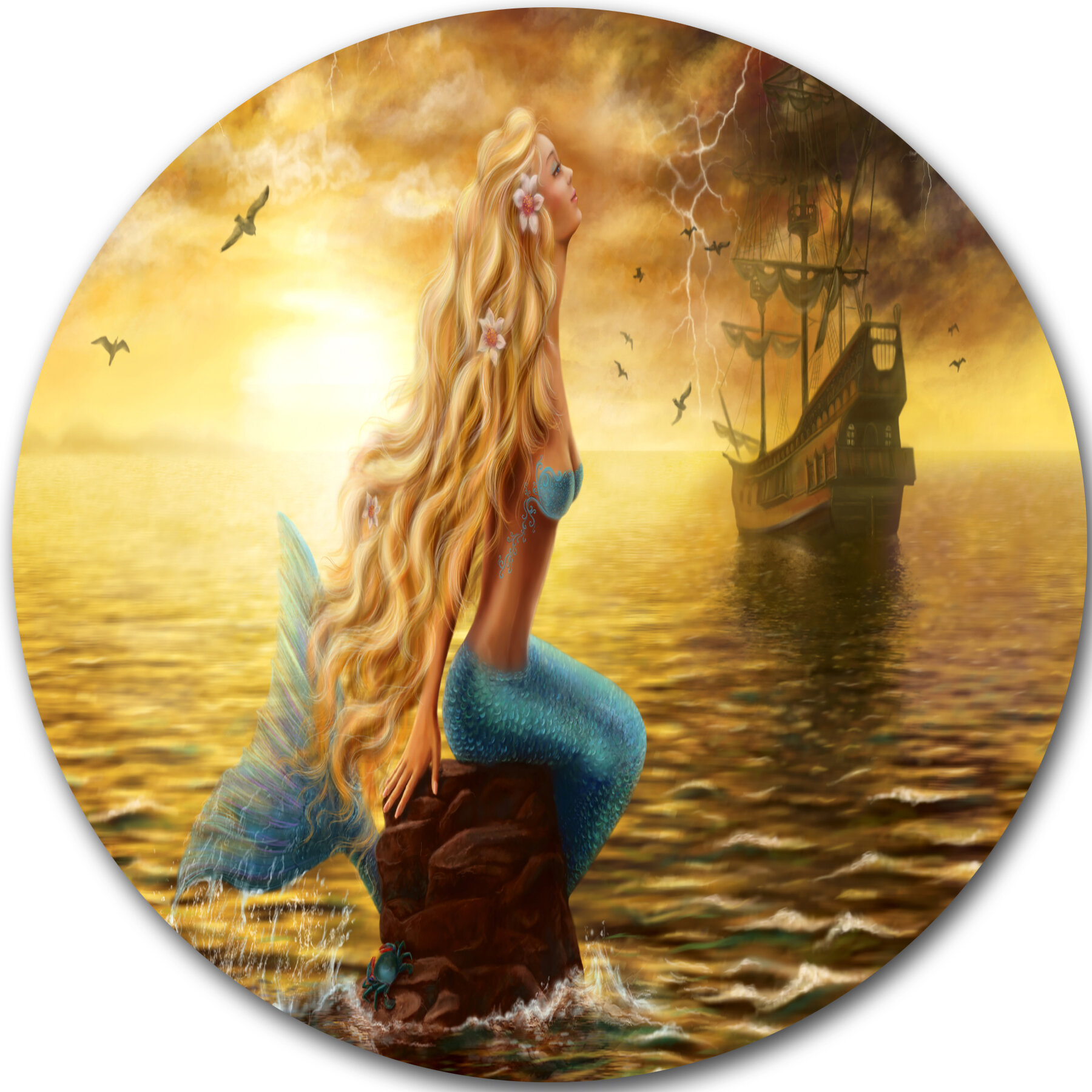 DesignArt \'Sea Mermaid with Ghost Ship\' Graphic Art Print on Metal ...