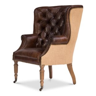 Spann Leather & Jute Chair by Canora Grey