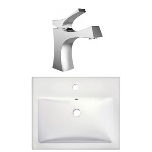 Semi Recessed Rectangular Vessel Bathroom Sink With Faucet