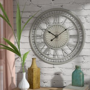 Oversized Round Gray Wall Clock