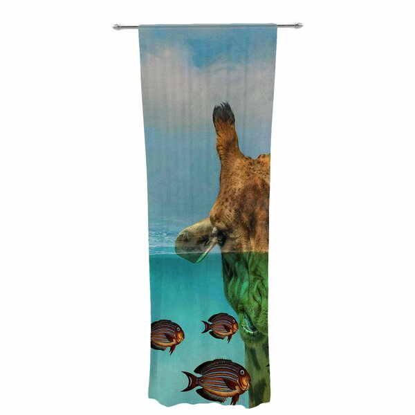 Kess InHouse Nick Nareshni Blue Sky Over The Ocean Teal Coastal Decorative Set 30 x 84 Sheer Curtains
