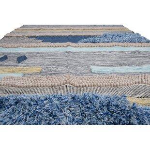 Tuckerman Hand Looped Wool Blue Gray Area Rug