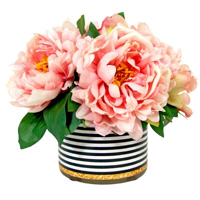 House of Hampton Peony in Striped Pot