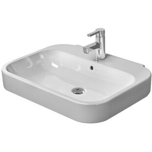 Happy D. Ceramic Rectangular Pedestal Bathroom Sink with Overflow Duravit